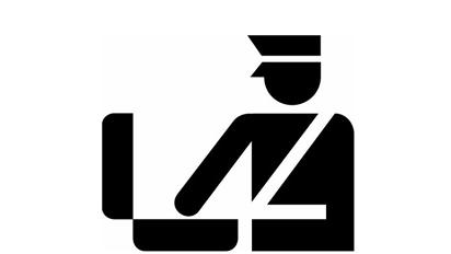 Cuidado! A alfândega está de olho. Símbolo que indica a alfândega (desenho de um policial abrindo uma mala)