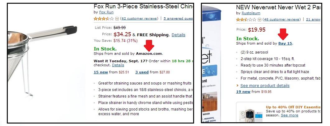 Fazendo suas compras online pela Amazon. Foto da tela no site da Amazon indicando como ver quais são vendidos pela própria loja ou por terceiros