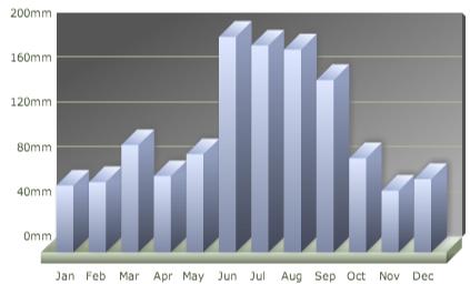 Clima em Orlando: volume de chuvas na cidade por mês. O gráfico em barras mostra a quantidade de chuva em milímetros a cada mês em Orlando.
