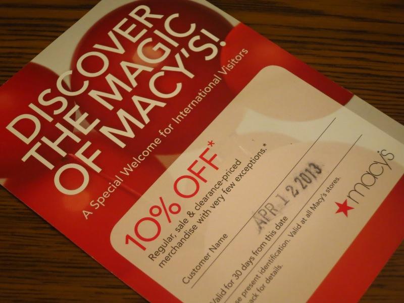 Cartão de desconto de 10% para brasileiros na Macy's. Vale bastante a pena!