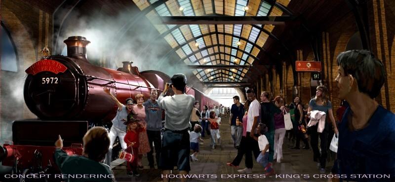Harry Potter - Estação de trem londrina de King's Cross, que levará os visitantes até a área que já existe hoje no Islands of Adventure