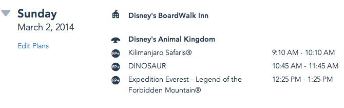 My Disney Experience: exemplo de itinerário com o hotel, parque e Fastpass+
