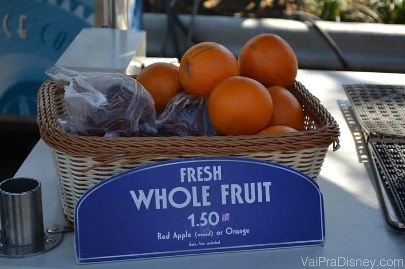 Frutas também entram no Dining Plan como Snacks. Uma das opções mais baratas, porém muito saudável.