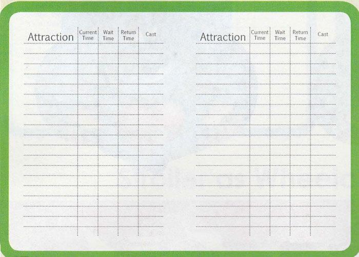Verso do DAS Card, onde em cada linha será anotada a próxima atração a ser visitada e o horário de retorno