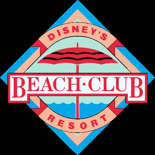Logo do Disney's Beach Club Resort, azul e vermelho com o desenho de um guarda-sol