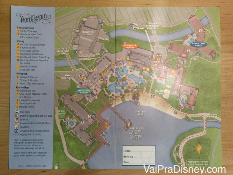 Mapa do Beach Club que foi entregue no check-in do hotel