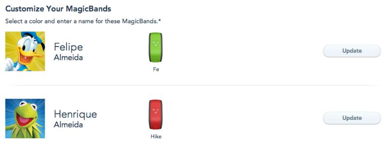 Clicando no botão UPDATE, você consegue escolher a cor da MagicBand e o nome que será impresso nela