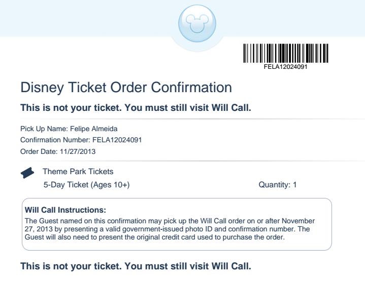 Voucher recebido por e-mail para retirada dos ingressos da Disney
