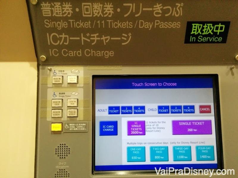 Máquina de compra de bilhetes para o monorail interno da Disney