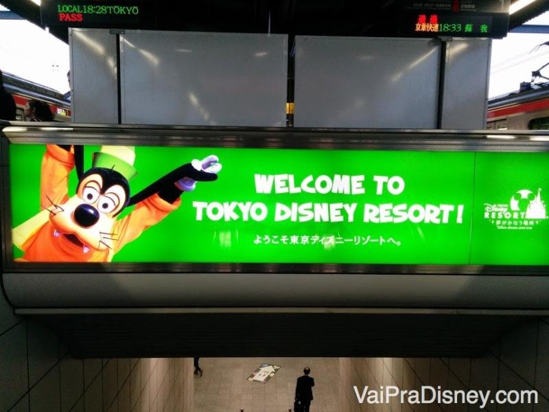 Chegando de metrô na Disney de Tóquio