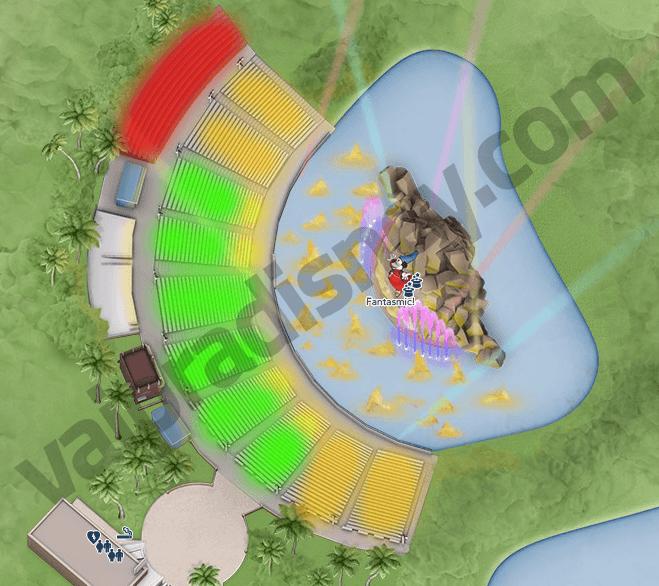 Mapa do Fantasmic. Quem tem o pacote de jantar VIP, senta nas duas áreas centrais pintadas de verde, logo de cara para o Mickey