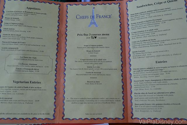 Foto do Fixe Prix Menu do restaurante, que oferece algumas opções para montar uma refeição completa a preço fixo.