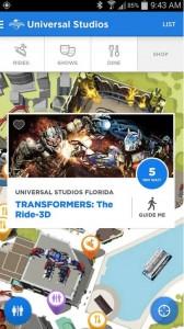 Aplicativo Universal Orlando Resort  - Apps essenciais. Foto da tela no app da Universal, mostrando o tempo de espera de uma atração (Transformers 3D)