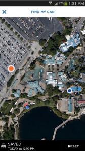 Foto da tela no applicativo dos parques Sea World em Orlando mostrando o mapa do parque - Apps essenciais.