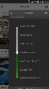 Foto da tela no app do Busch Gardens em Tampa mostrando a altura mínima para uma atração  - Apps essenciais