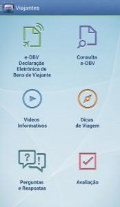 Viajantes no exterior  - Apps essenciais. Foto da tela no app Viajantes no exterior mostrando as opções para encontrar informações e dicas