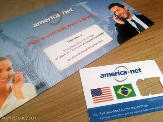 Chip com número brasileiro e americano, além de internet e ligações ilimitadas