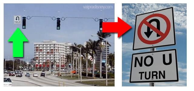 Como dirigir em Orlando: U-Turn. Na foto a esquerda, você pode fazer o retorno. Na direita, não. Foto de duas placas indicando retorno permitido (primeira) e proibido (segunda)