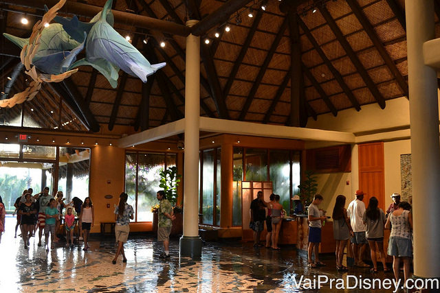 Lobby do Discovery Cove onde os visitantes fazem o check in no parque