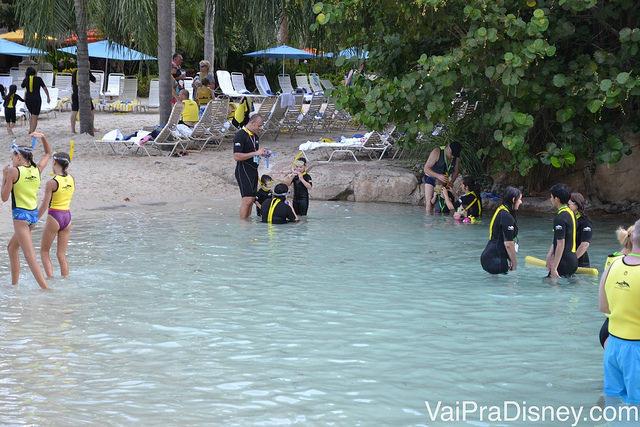 Vistitantes mergulham na entrada do Wind Away River no Discovery Cove
