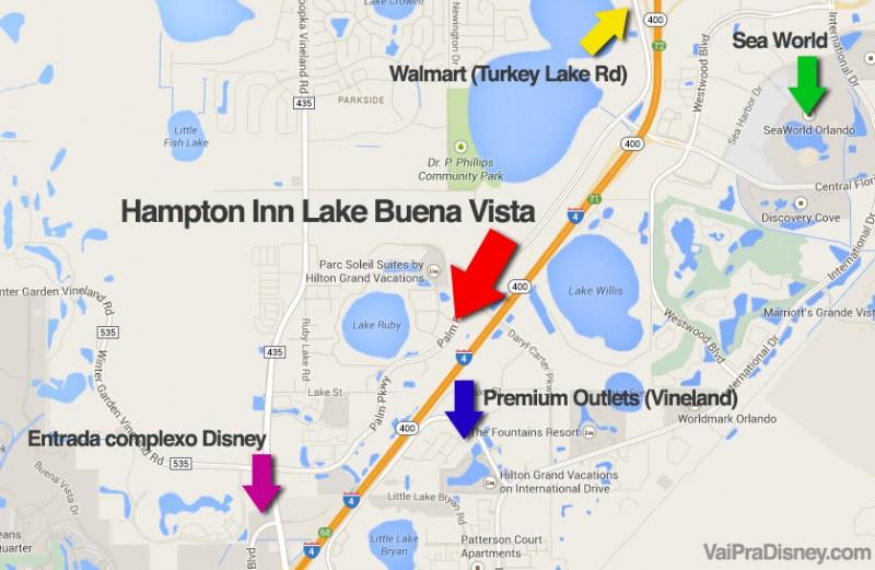 Mapa com alguns pontos de Orlando, mostrando a localização do hotel Hampton Inn em relação a eles