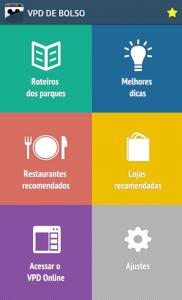 VPD de Bolso  - Apps essenciais. Foto da tela no app VPD de bolso, mostrando as seções disponíveis - Roteiros, Dicas, Recomendações etc.