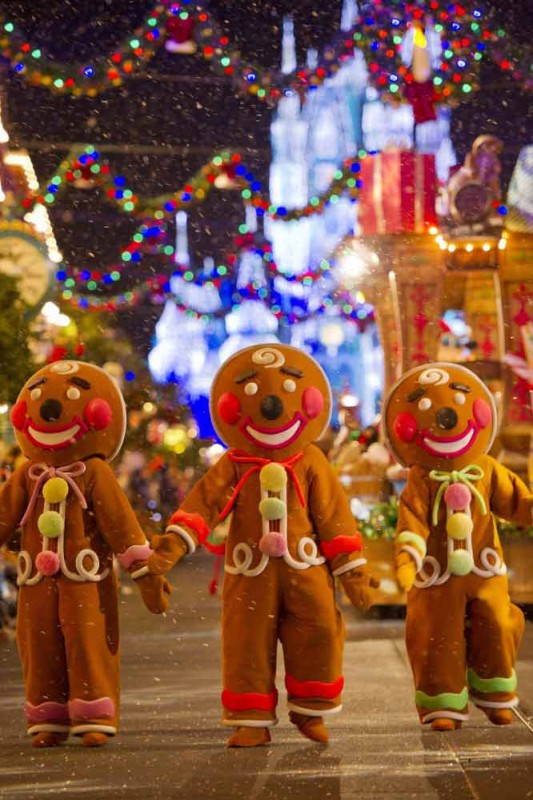 Gingerbreads, biscoitinhos tradicionais do natal americano, também representados na parada de Natal da Disney em Dezembro
