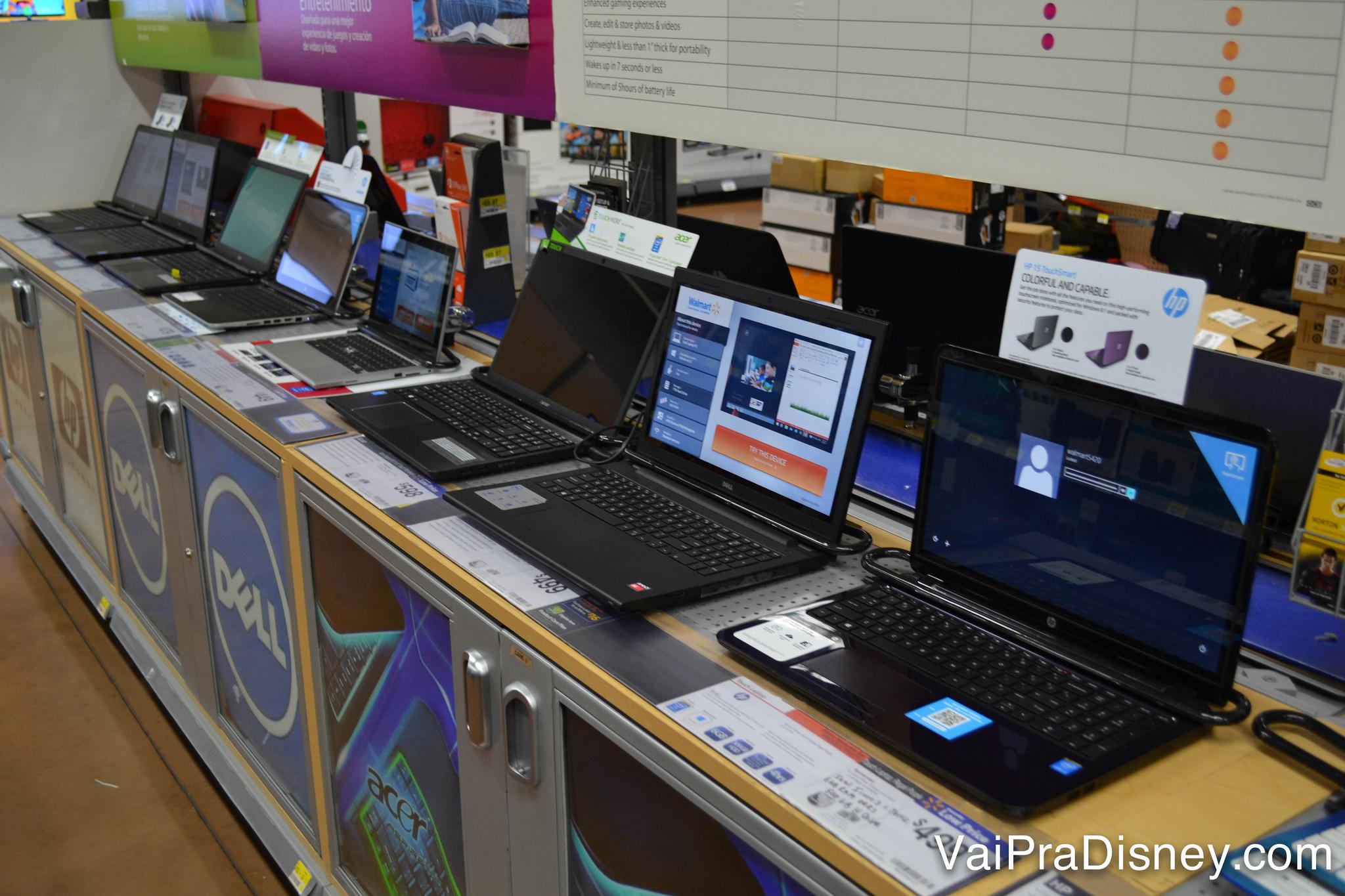 Laptops com bons preços também no Walmart, mas fique atento às garantias estendidas vendidas pelas lojas, pois na maioria das vezes ela não vale no Brasil.
