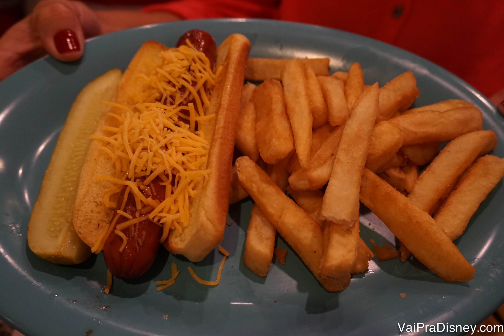 Foto de um cachorro quente no prato, com fritas ao lado
