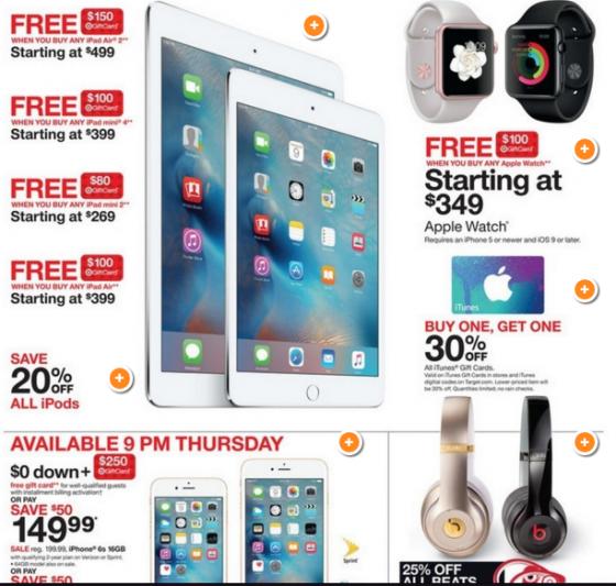 Na Target quem compra IPad ganhará um gift card para outras compras.