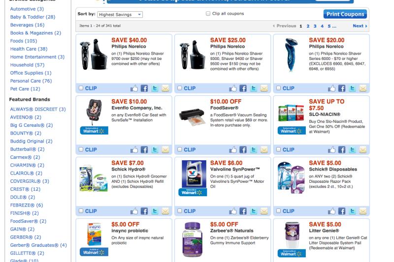 Foto da tela no site do Walmart mostrando produtos em oferta