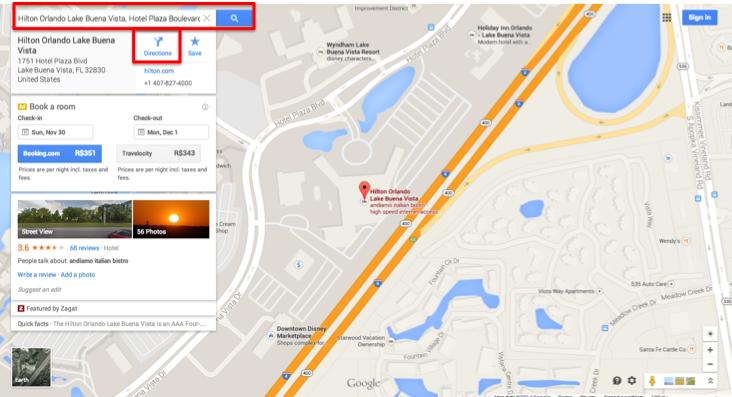 """Primeiro busque pelo seu hotel. No exemplo eu só escrevi """"Hilton Lake Buena Vista"""" e o Google Maps já encontrou o hotel. Em seguida, clique em directions ou itinerário para traçar a rota."""