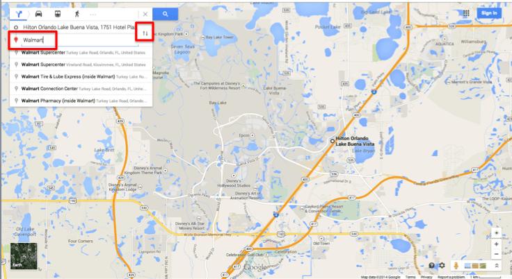 Foto da tela do Google Maps localizando unidades do Walmart próximas de um hotel em Lake Buena Vista