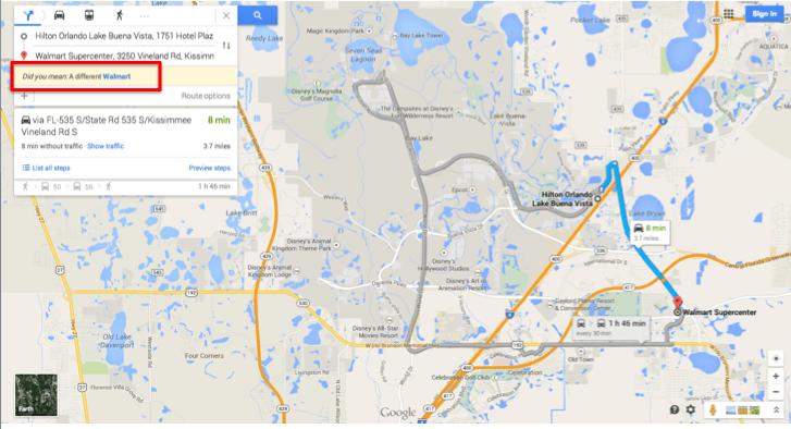 Foto da tela do Google Maps indicando onde escolher para ver outra unidade da loja