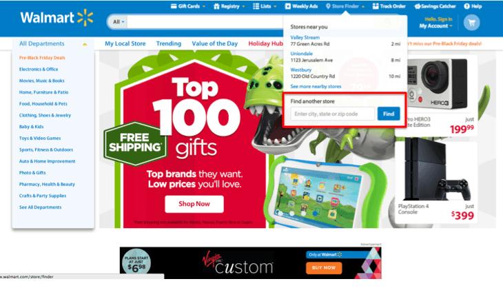 Foto da tela do site do Walmart   explicando como procurar a loja do Walmart pelo ZIP CODE, o CEP americano