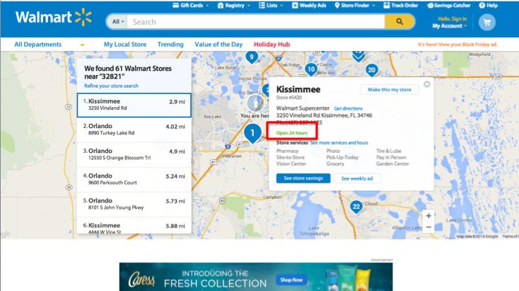 Foto da tela do site do Walmart com a lista de todas as lojas do Walmart nos EUA
