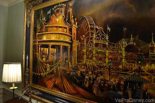 O quadro que a gente amou mas não achou pra vender. Queria muito!! Foto do quadro do BoardWalk Inn, que mostra um parque de diversões antigo.
