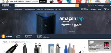 Foto do site da Amazon, mostrando diversos produtos que eles vendem, com destaque para a Alexa