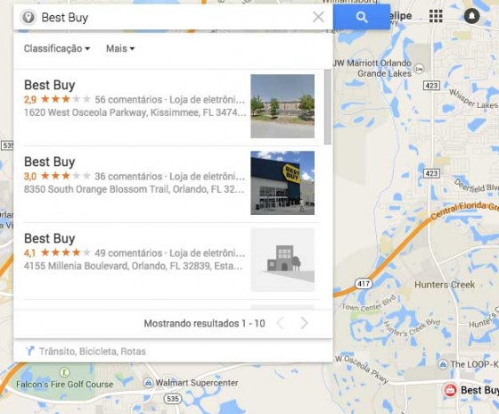 Foto da listagem dos endereços das lojas mais próximas de Lake Buena Vista em Orlando, no Google Maps
