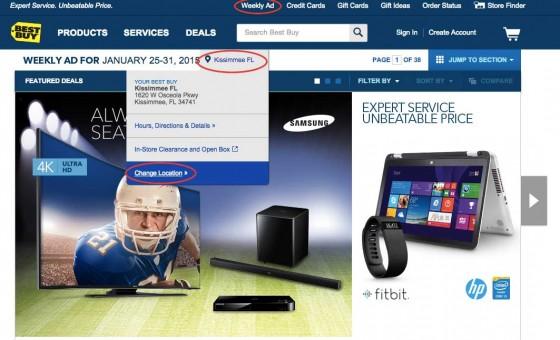 No site da Best Buy, você consegue verificar os produtos em oferta de cada loja.