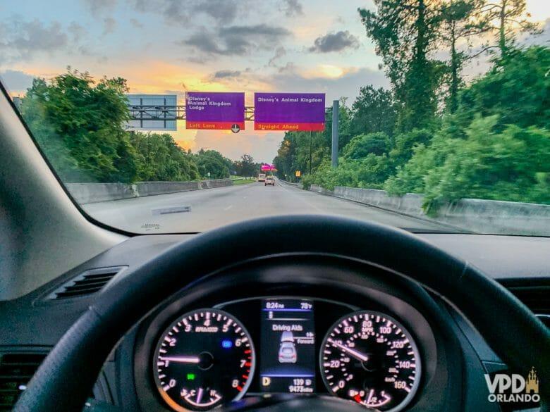 Alugar carro em Orlando costuma ser a opção mais popular em pacote de viagem pra se locomover na cidade. Foto tirada de trás do volante de um carro, e à frente é possível ver as placas roxas do complexo da Disney.