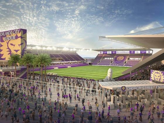 Projeto do novo estádio do Orlando City Soccer. Obras a todo vapor
