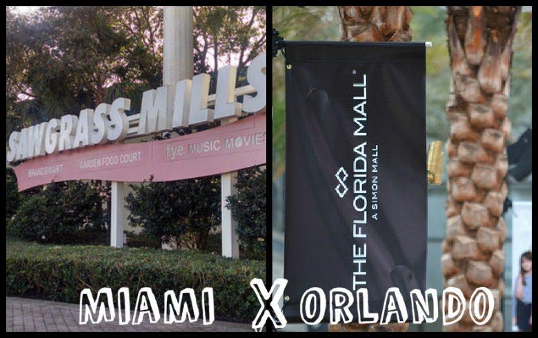 """MIAMI X ORLANDO. Foto dividida no meio, com a fachada do Sawgrass Mills em Miami de um lado, com """"Miami"""" escrito embaixo, um x, uma placa do Florida Mall de Orlando do outro e a palavra """"Orlando"""" embaixo"""