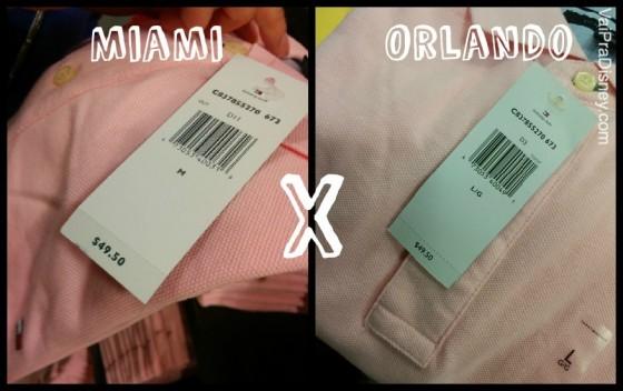 """ORLANDO X MIAMI. Foto dividida no meio, com a foto de uma camiseta pólo e a etiqueta de preço de um lado e a palavra """"Miami"""", e uma foto bem semelhante do outro lado com a palavra """"Orlando"""", comparando os preços do mesmo item nas duas cidades."""