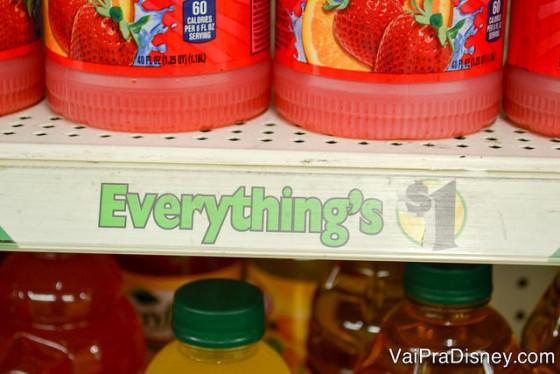 """Como já dito nas prateleiras: tudo custa um dólar! Então não procure por etiquetas de preços nessa loja! Foto da prateleira na loja Dollar Tree, com uma etiqueta que diz """"Everything's $1"""""""