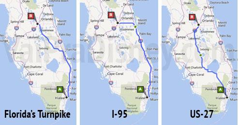 As 3 opções de estrada mais conhecidas entre Orlando e Miami. Foto do mapa ilustrando as possíveis rotas entre Miami e Orlando, Florida's Turnpike, I-95 e US-27