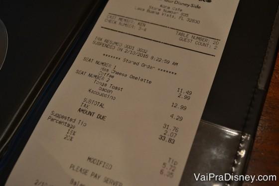 Para duas pessoas US$33 + taxa não é nada absurdo, principalmente considerando a fartura dos pratos.