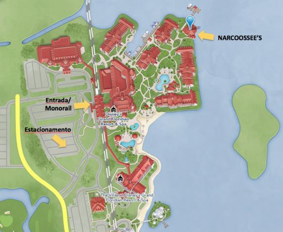 Mapa do Grand Floridian mostrando a distância entre a recepção e o Narcoossee's