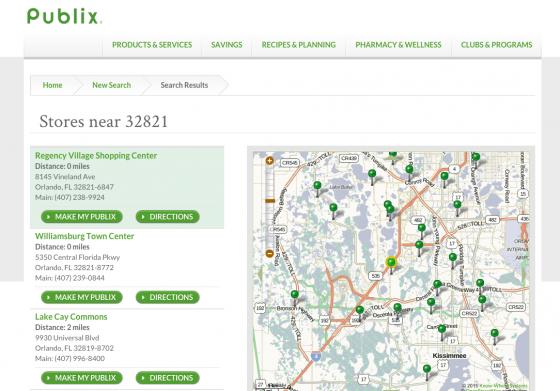 Foto do mapa no site do Publix mostrando as unidades por localização