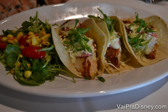 Tacos de peixe do The Boathouse.